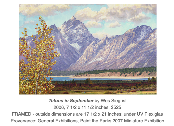 Tetons landscape painting by Wes Siegrist
