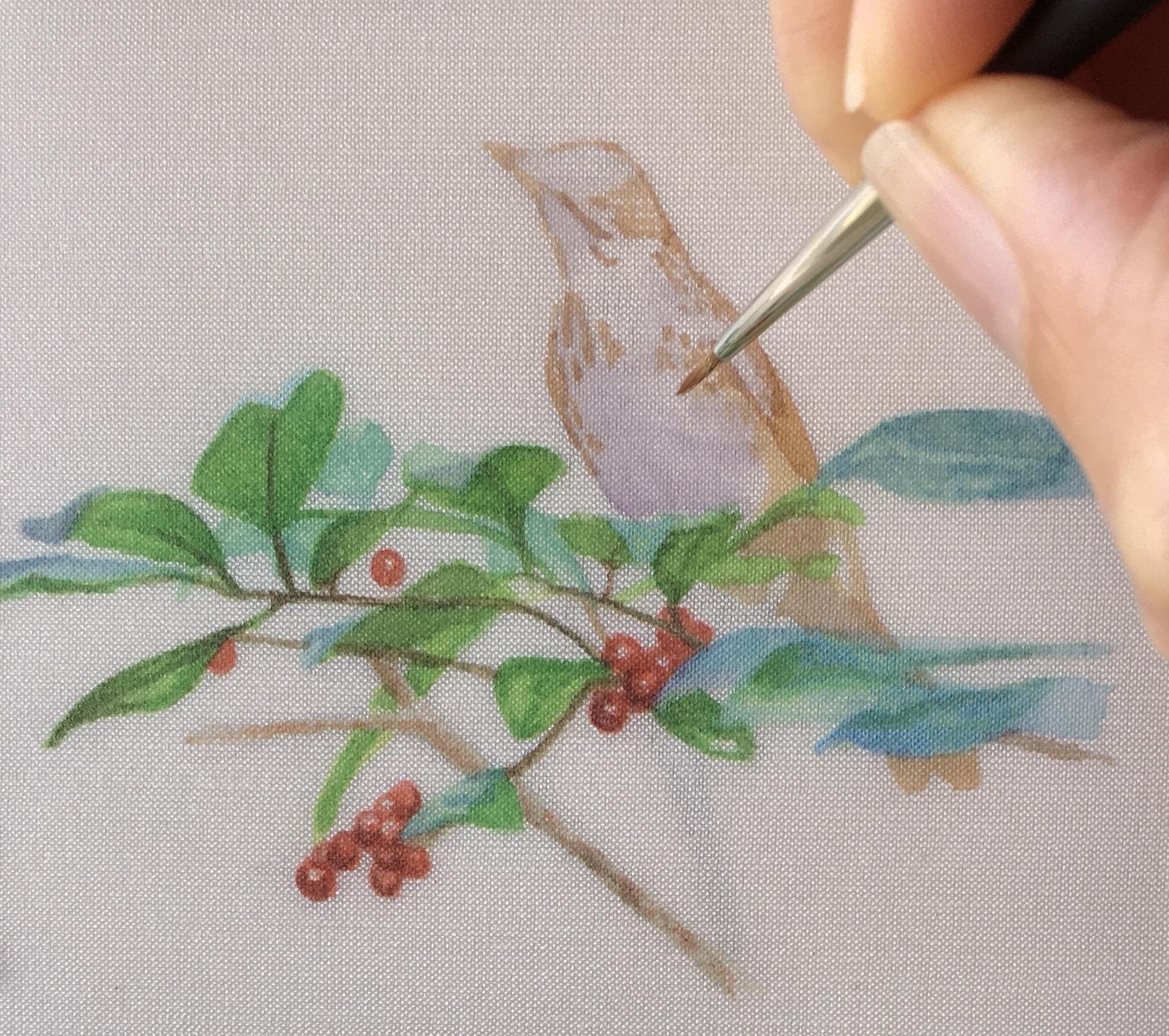 wood thrush painting on silk by Rachelle Siegrist
