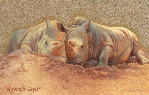 Rhino painting Basking Behemoths by Rachelle Siegrist